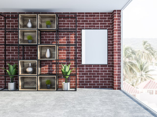 Brick living room interior with bookcase, poster