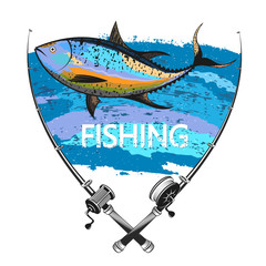 Fishing tuna and two fishing rods symbol