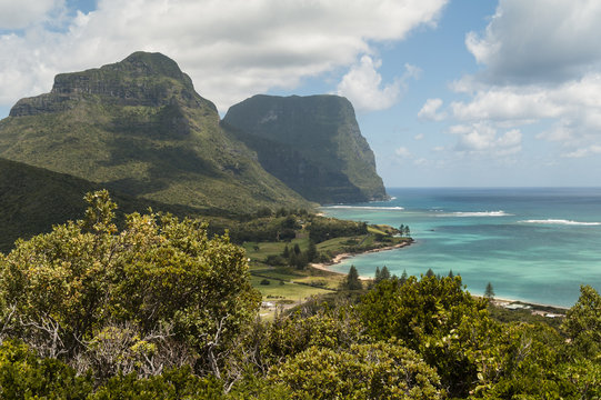 The view up Lord Howe Island from Mount Eliza with Mounts Lidgbird and Gower in the background. New South Wales, Australia.