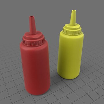 Ketchup and mustard squeeze bottles