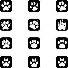 Pfoten, Tierspuren, Buttons, Icons, Aufkleber Label