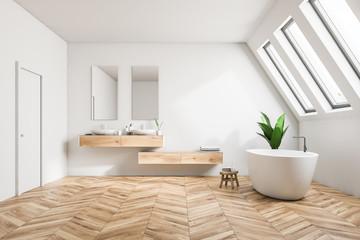 Attic luxury bathroom interior, white
