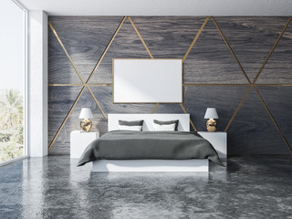 Wooden triangle pattern bedroom interior, poster