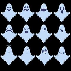 Set of cartoon ghosts Halloween emoji