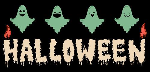 Cartoon ghosts Halloween emoji candles  banner