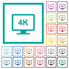 4K display flat color icons with quadrant frames