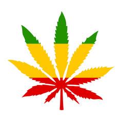 Rastafarian icon with marijuana leaf