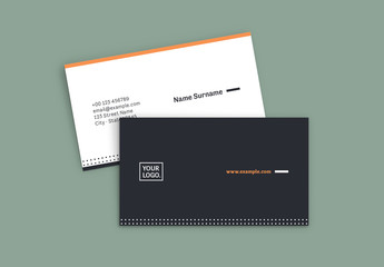 Business Card Layout with Orange Accents
