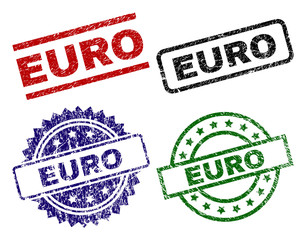 EURO seal prints with corroded surface. Black, green,red,blue vector rubber prints of EURO caption with dust surface. Rubber seals with round, rectangle, medallion shapes.