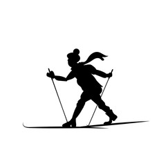 Silhouette of a skier going isolated. Lover of forest walks on the slopes. Vector illustration