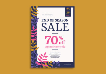 Sale Flyer Layout with Leaf Illustrations