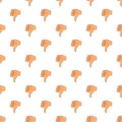 Gesture thumbs down pattern. Cartoon illustration of gesture thumbs down vector pattern for web