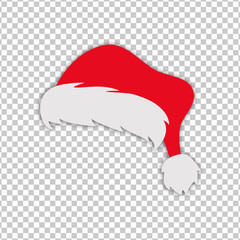 Christmas Santa Claus red hat silhouette isolated