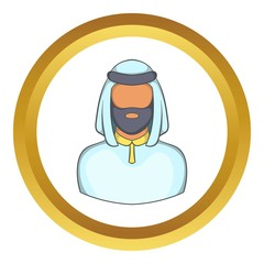 Male arab vector icon in golden circle, cartoon style isolated on white background