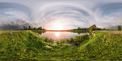 full seamless spherical panorama 360 by 180 angle view on the shore of lake in evening before storm in equirectangular projection, ready VR virtual reality content