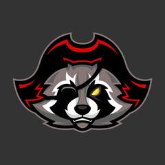 Pirate raccoon mascot, Sport or esports racoon logo emblem