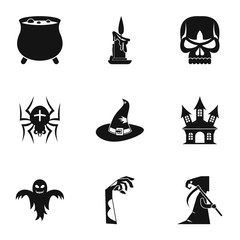 Halloween icons set. Simple illustration of 9 halloween vector icons for web