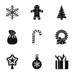 Christmas icons set. Simple illustration of 9 christmas vector icons for web