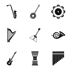 Tools for music icons set. Simple illustration of 9 tools for music vector icons for web