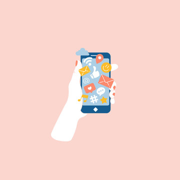 Woman hand holding smartphone with social media notifications. Vector illustration