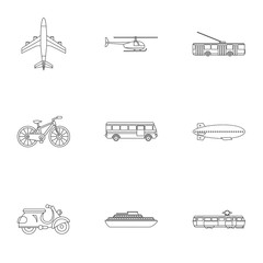 Transport for movement icons set. Outline illustration of 9 transport for movement vector icons for web