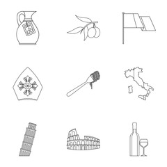 Attractions of Italy icons set. Outline illustration of 9 attractions of Italy vector icons for web