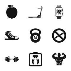 Sport icons set. Simple illustration of 9 sport vector icons for web