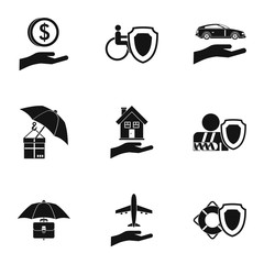 Insurance icons set. Simple illustration of 9 insurance vector icons for web