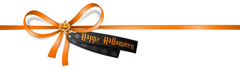 Happy Halloween Schleife mit Halloween Etikett und Kürbis Aufkleber
