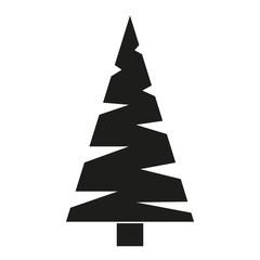 Black and white triangular fir tree silhouette