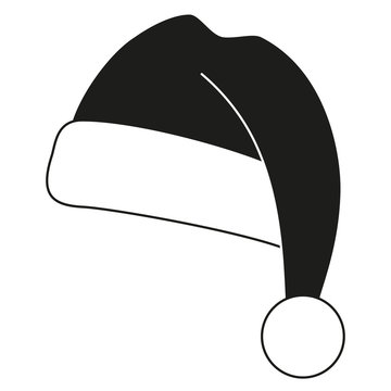 Black and white christmas hat silhouette