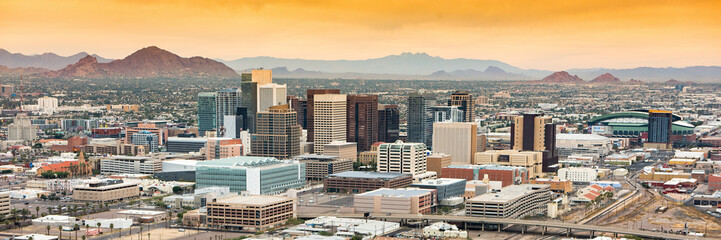 Panoramic aerial view over Downtown Phoenix, Arizona