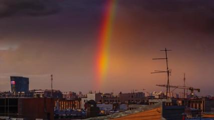 Klistermärke - Rainbow over old city skyline. St Petersburg, Russia. 4K UHD Timelapse.