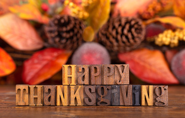 Happy Thanksgiving Message With Colorful Autumn Backgroun