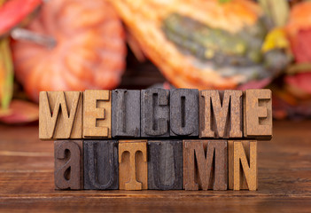 Welcome Autumn Message With Fall Background Theme