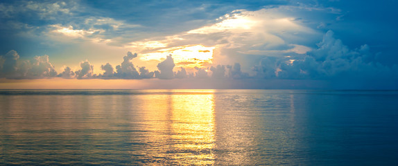 Beautiful tropical sunset on the beach at andaman sea