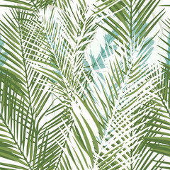Foto op Canvas Tropische Bladeren Floral tropical vector pattern with green palm plants and leafs