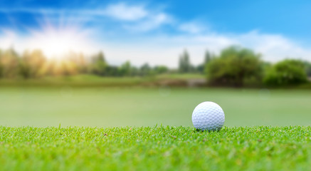 White Golf ball on green course to be shot on blurred beautiful landscape of golf course in bright day time with copy space. Sport, Recreation, Relax in holiday concept Wall mural