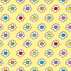 tender colored stylish seamless vector pastel yellow background with camomile flowers, small cute flowers