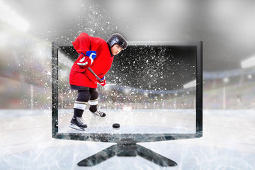 Junior Ice Hockey Player on Live 3D TV Inside Stadium
