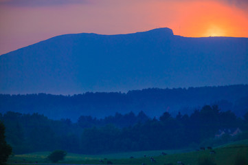 Sunset over Mt. Mansfield in Stowe Vermont