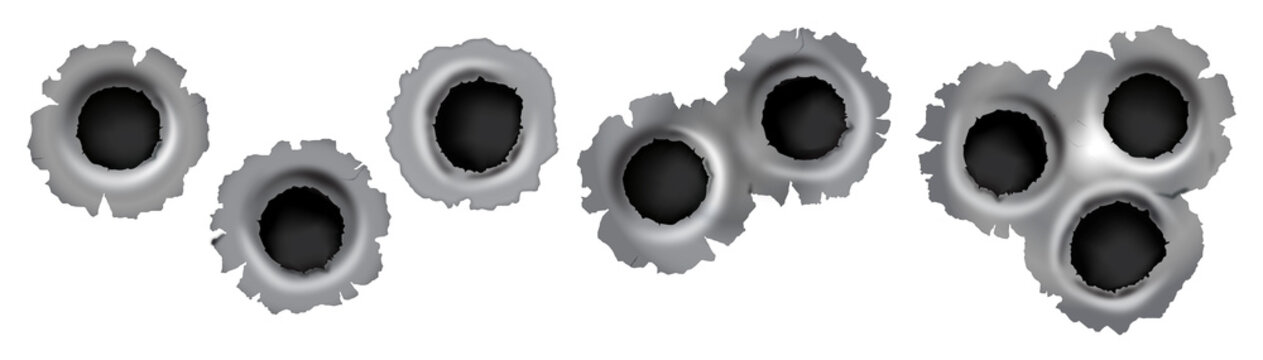 Bullet impact on metal in vector format