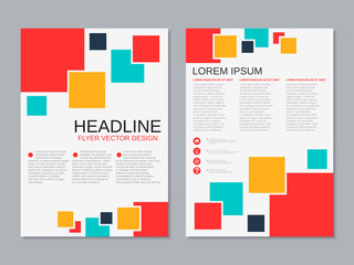 Modern professional business two-sided flyer vector design template