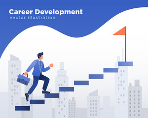Businessman Career Development, walking at stairs Illustration