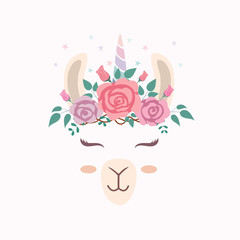 Cute llama head with unicorn horn.