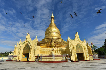 Beautiful nice sky and fly birds at Maha Wizaya Pagoda,small pagoda near shwedagon in haert of Yangon,Myanma