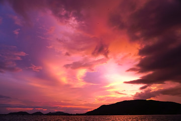 Magenta color of sunset twilight sky and cloud background.