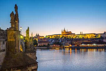 Prague city skyline in Czech Republic at night