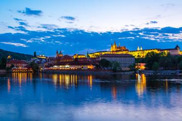 Night view of Prague skyline in Czech Republic