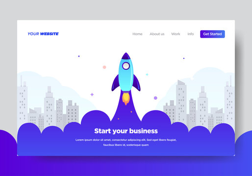 Landing page template of Startup Business. Modern flat design concept of web page design for website and mobile website.Vector illustration